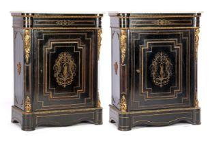 2 Napoleon III Boulle style 1-door wall cabinets