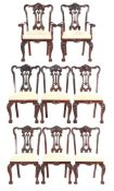 6 mahogany Chippendale style chairs
