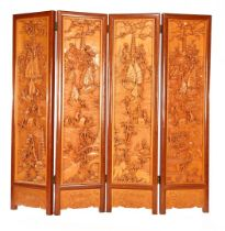 4-turn rosewood folding screen