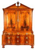 Mahogany veneer on oak Louis Seize cabinet