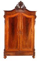 Walnut veneer linen cupboard