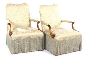 2 walnut armchairs