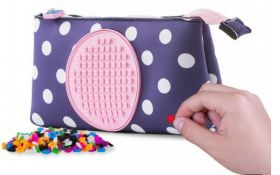 X 10 PIXEL CREW CREATIVE LARGE BLUE POUCH WITH WHITE DOTS AND PINK POLKA. TOTAL RRP £140
