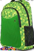 X 2 BRAND NEW LARGE PIXEL CREW CREATIVE GREEN BAGS. TOTAL RRP £96.40