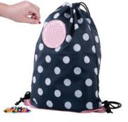 X15 BRAND NEW PIXEL CREW CREATIVE DRAWSTRING BAGS, BLUE WITH WHITE DOTS. TOTAL RRP £119.88