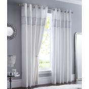 ONE PAIR OF SHIMMER EYELET ROOM DARKENING CURTAINS COLOUR WHITE, SIZE 117 X137. RRP £31.99