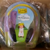 X 6 BRAND NEW LITTLE PRINCESS HEADPHONES; NOT SO LOUD DESIGNED WITH KIDS IN MIND. TOTAL RRP £90
