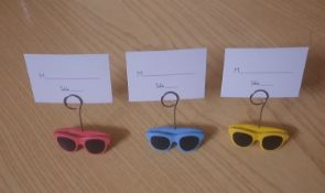 X 55 BRAND NEW WEDDING SUNGLASSES TABLE DISPLAY WITH TABLE NAME OR NUMBER DISPLAY CARDS.