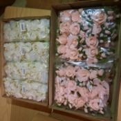 X 96 BRAND NEW ARTIFICIAL FLOWERS IN PINK AND CREAM