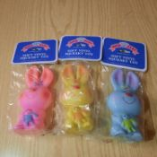 X 24 BRAND NEW AND INDIVIDUALLY PACKAGED SOFT VINYL SQUEACKY TOY.