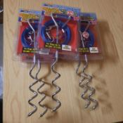 X 5 BRAND NEW SPIRAL TIE OUT STACK & 20 FT CABLE FOR DOGS AND CAMPING. TOTAL RRP £50