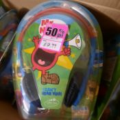 X 6 BRAND NEW MR.MEN SHOW HEADPHONES; NOT SO LOUD DESIGNED WITH KIDS IN MIND. TOTAL RRP £90