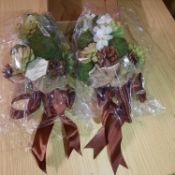 X 2 BRAND NEW LILLIAM ROSE BOUQUET OF ARTIFICIAL FLOWERS WITH BROWN RIBBON. TOTAL RRP £37.64