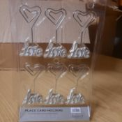 X 72 BRAND NEW LOVE WEDDING TABLE DISPLAY WITH TABLE NAME OR NUMBER DISPLAY CARDS.