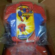 X 2 BRAND NEW SPIDER MAN TORSO SHAPED LUNCHBOX. MEASUREMENTS: 48.3 X 24 X 24.5 CM.