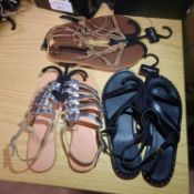 X 3 NEW & BAGUED LADIES SANDLES IN 3 DIFFERENT STYLES & COLOURS SIZE UK - 5, 6, 7/ EU - 38, 39,