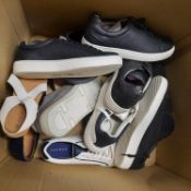 HALF BOX OF ODD TRAINERS & LADIES SANDDLES IN VARIOUS SIZES DESIGN AND COLOURS.