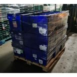 Pallet of 30 x used Blue Solid industrial storage containers/tote boxes from M&S.