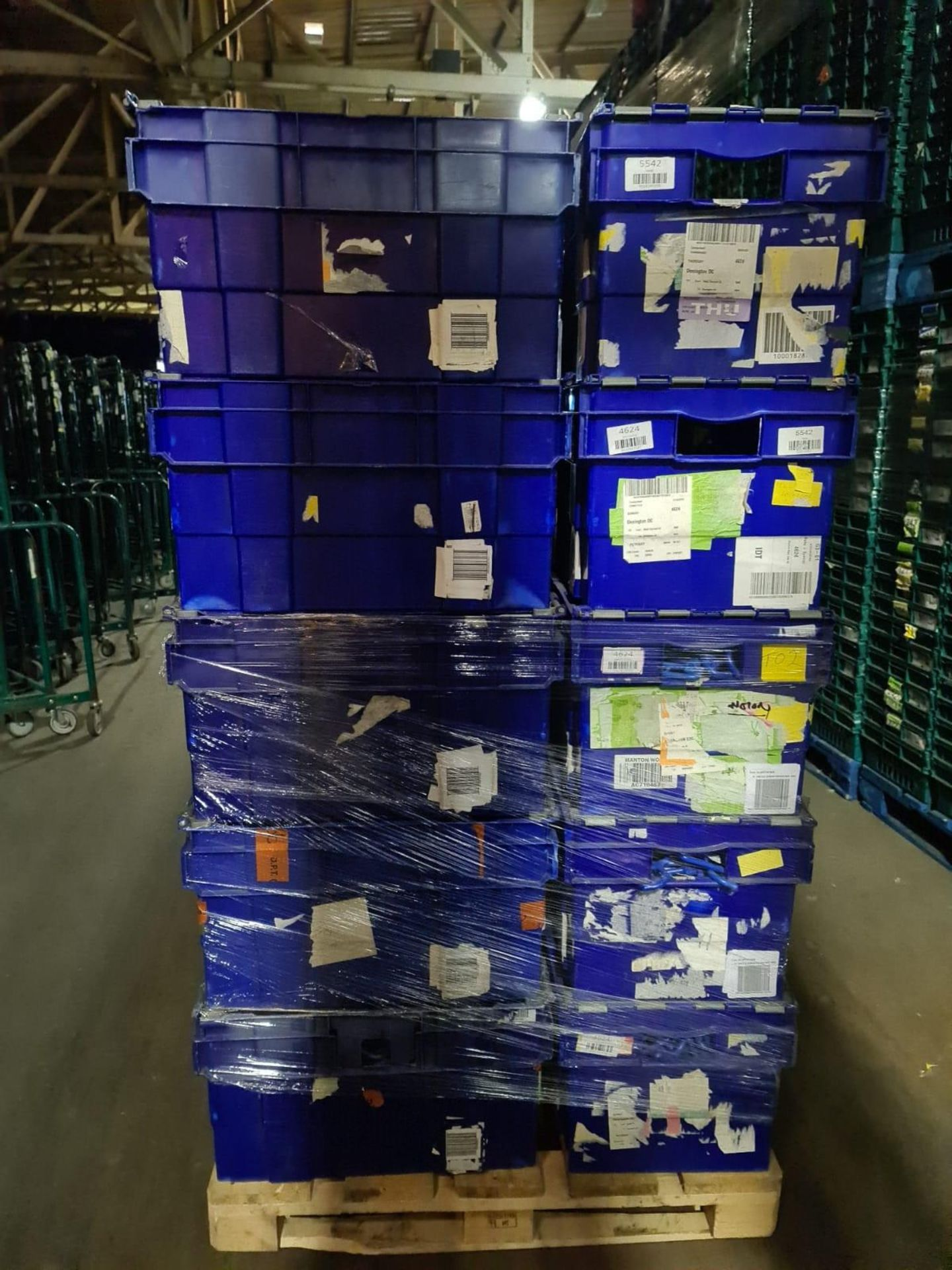 Pallet of 70 x used Blue Solid industrial storage containers/tote boxes from M&S. - Image 3 of 4
