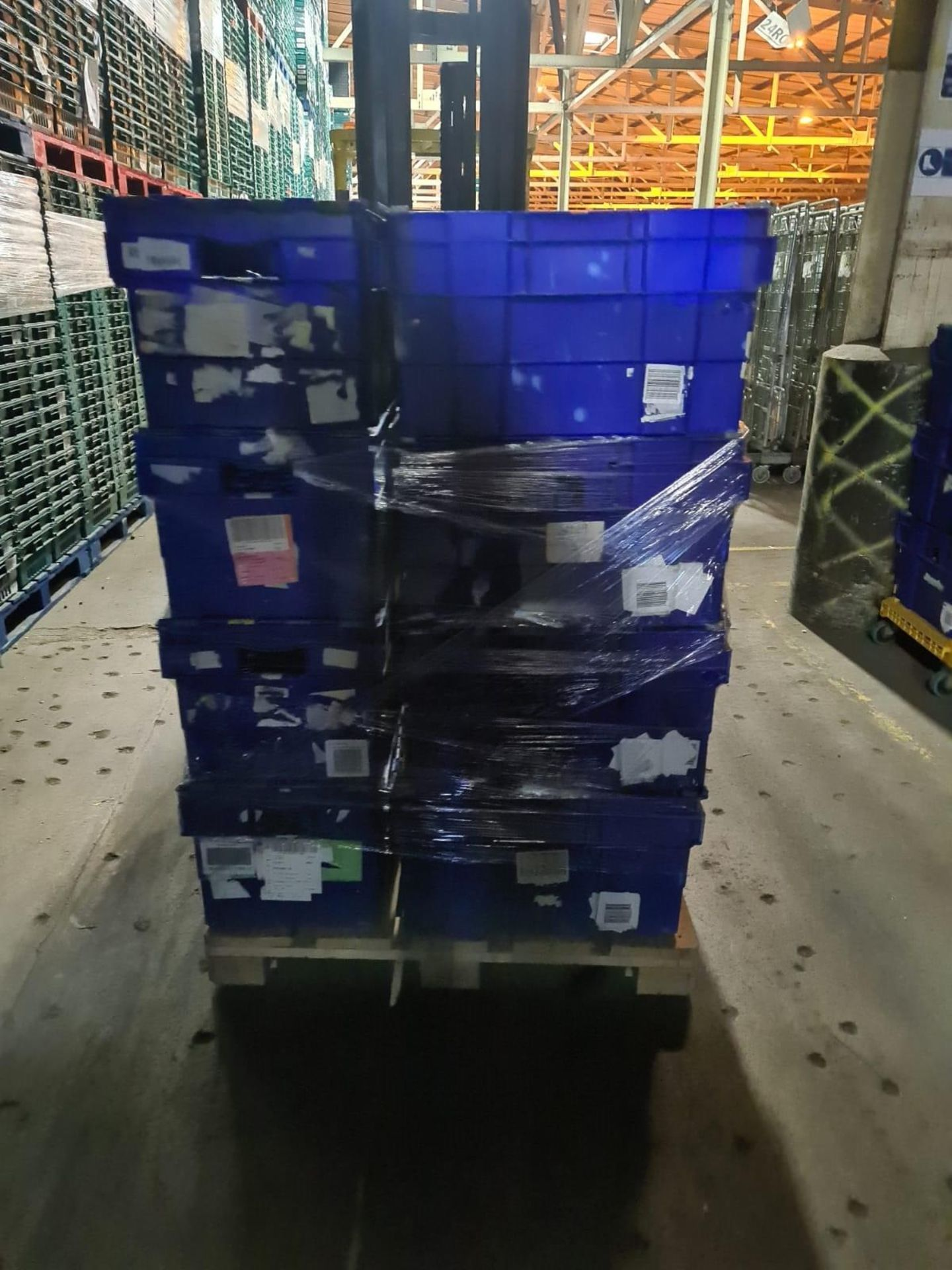 Pallet of 30 x used Blue Solid industrial storage containers/tote boxes from M&S. - Image 2 of 3