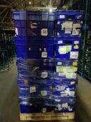 Pallet of 70 x used Blue Solid industrial storage containers/tote boxes from M&S.