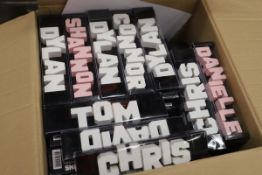 Box of 155 x Wood carve names. Approx total RRP £930