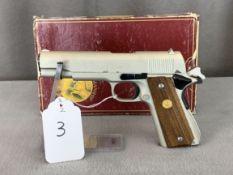 """3. Colt 1911 Mk 4 Series 70 Government Model 5"""" Barrel .45 Auto E-Nickel Finish w/ Orig Box, SN:"""