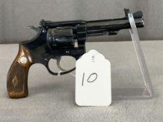 "10. S&W Pre-34 .22LR 6-Shot Revolver, 4"" Barrel, Flat Latch, Diamond Grips, Numbers Matching Grips!!"
