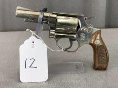 12. S&W Mod. 36 .38S&W 5-Shot Revolver, Nickel Finish, Pinned & Recessed Barrel SN: J214403