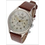 A Chronomat chronograph wristwatch by Breitling, circa 1950, the signed silvered dial with gilt