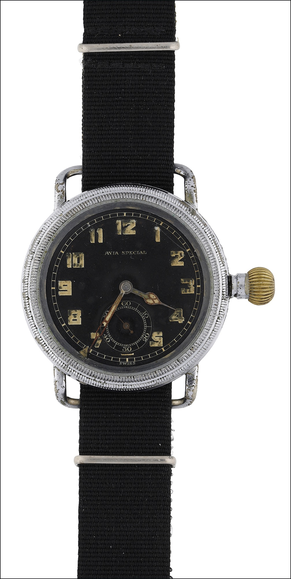 German military: An aviator's wristwatch, by Avia, 1930s-1940s, the black dial signed 'Avia