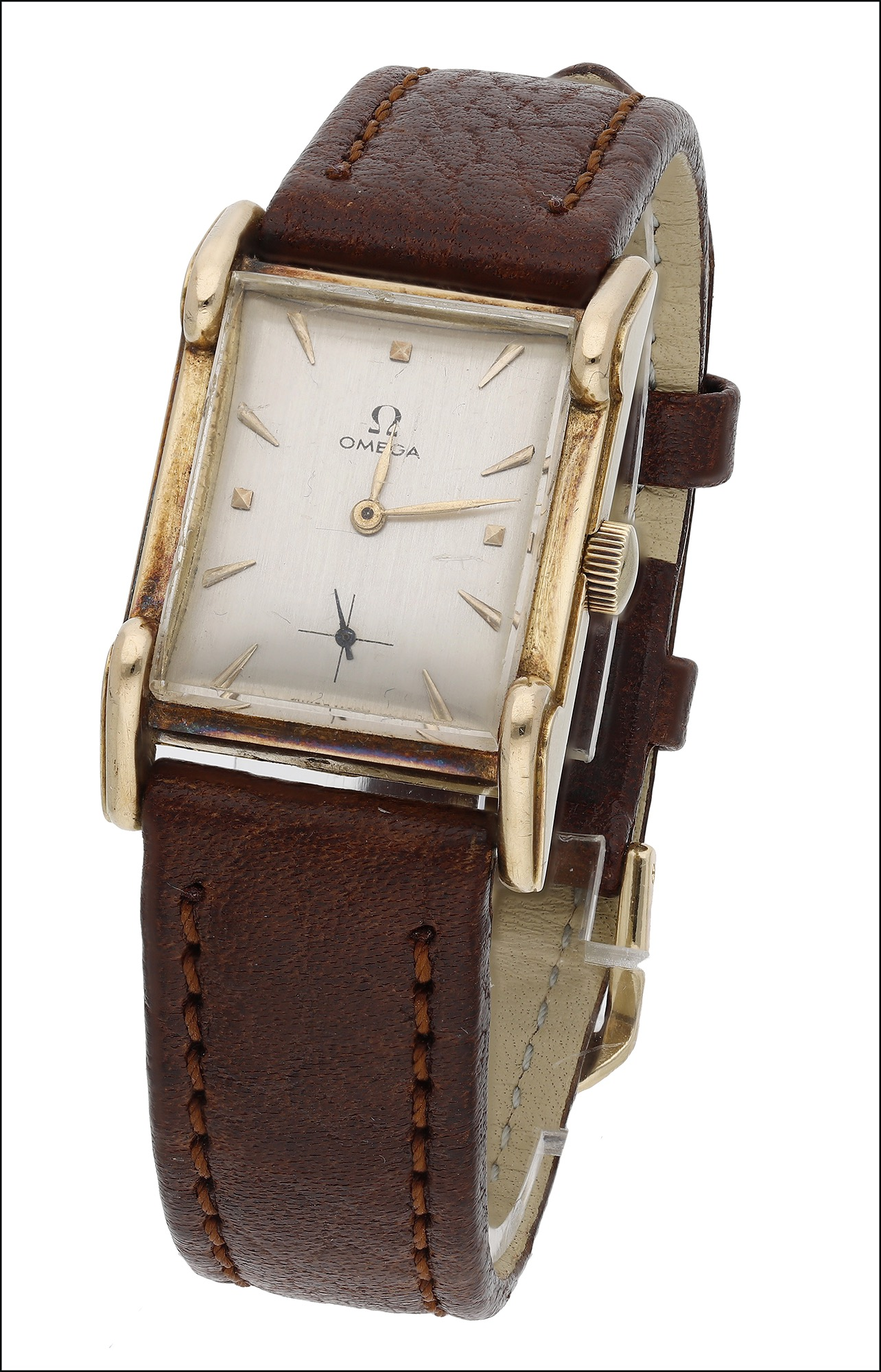 A rectangular gold cased wristwatch, by Omega, 1940s, the signed silvered dial with applied gilt