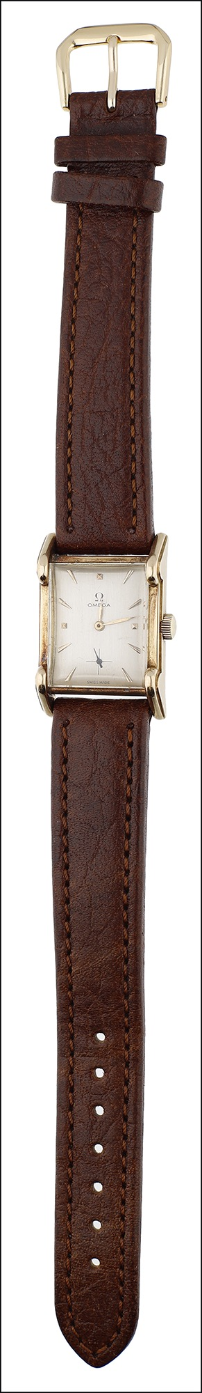 A rectangular gold cased wristwatch, by Omega, 1940s, the signed silvered dial with applied gilt - Image 3 of 3