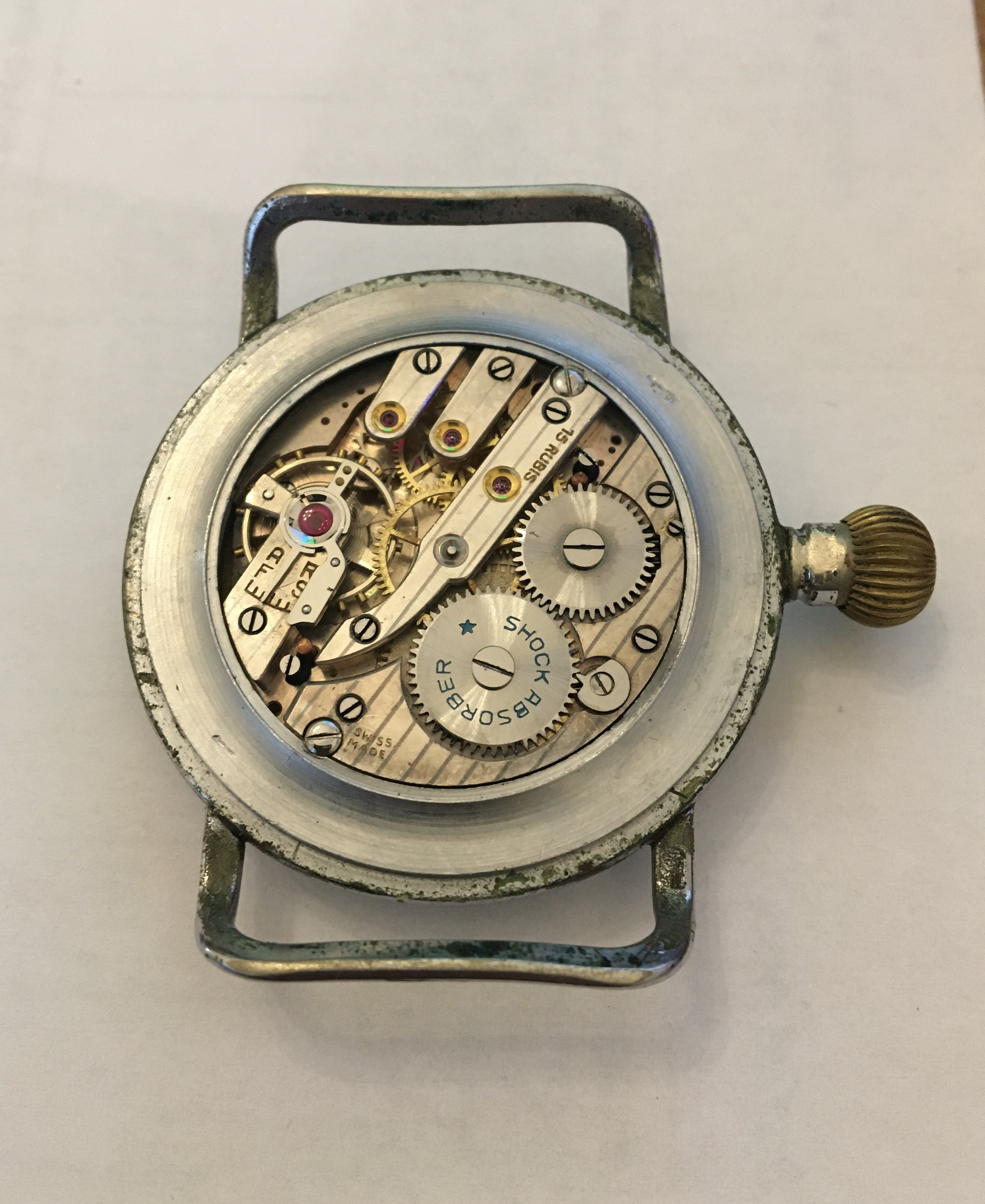 German military: An aviator's wristwatch, by Avia, 1930s-1940s, the black dial signed 'Avia - Image 3 of 4