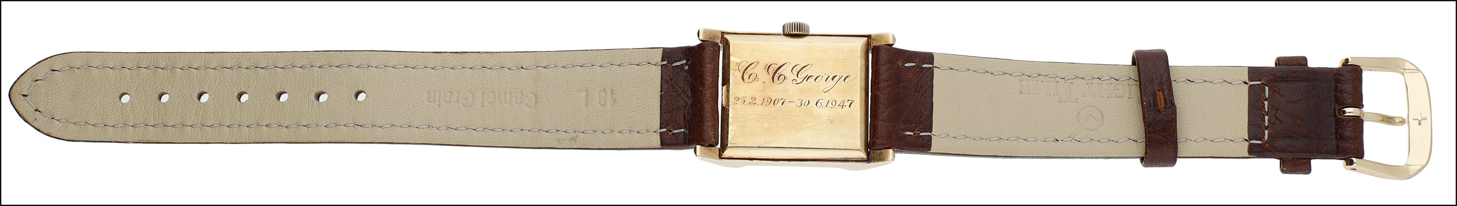 A rectangular gold cased wristwatch, by Omega, 1940s, the signed silvered dial with applied gilt - Image 2 of 3