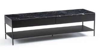 LA REDOUTE FEBEE SHELVED TV UNIT WITH BLACK MARBLE