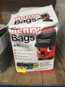 1 LOT TO CONTAIN A BOX OF HENRY NVM-1CH HEPA-FLO BAGS