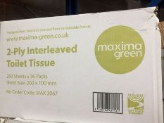 1 LOT TO CONTAIN A BOX OF MAXIMA GREEN 2 PLY INTERLEAVED TOILET TISSUE