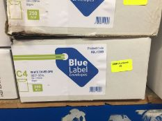 1 LOT TO CONTAIN A BOX OF BLUE LABEL ENVELOPES WHITE SELF SEAL ENVELOPES 324 X 229MM 80GSM