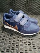 ONE PAIR OF NIKE KIDS MD VALIANT TRAINERS IN LEATHER NAVY BLUE WITH GOLD - SIZE UK 13.5 CHILDRENS.