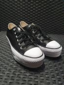 ONE PAIR OF CONVERSE CHUCK TAYLOR ALL STAR LIFT CLEAN LEATHER PLATFORM TRAINERS IN BLACK - SIZE UK