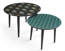 LA REDOUTE RONDA SET OF 2 PRINTED COFFEE TABLES