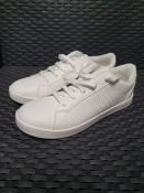 ONE PAIR OF ALL WHITE SNAKE EFFECT LEATHER TRAINERS - SIZE 5.5. RRP £50.00. GRADE A - LIGHTLY