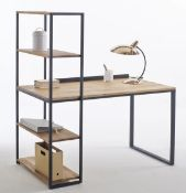 LA REDOUTE HIBA STEEL/SOLID OAK DESK WITH SHELVING UNIT