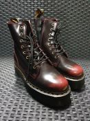 ONE PAIR OF DR MARTENS 1460 PASCAL ANKLE BOOTS IN LEATHER IN BURGUNDY RED - SIZE UK 7. RRP £149.00