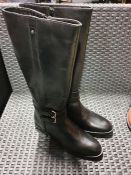 ONE PAIR OF LA REDOUTE LEATHER KNEE-HIGH BOOTS WITH BUCKLE TRIM IN BLACK - SIZE UK 6.5. RRP £99.00