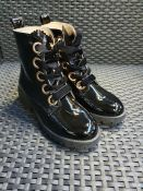 ONE PAIR OF LA REDOUTE COLLECTIONS PATENTANKLE BOOTS WITH GOLD EYELETS IN BLACK - SIZE EU 38. RRP £