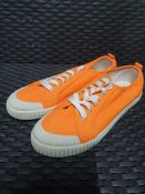ONE PAIR OF LA REDOUTE COLLECTIONS COLOURED CANVAS TRAINERS IN ORANGE - SIZE 5.5 UK. RRP £34.00.