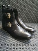 ONE PAIR OF LA REDOUTE COLLECTIONS LEATHER ANKLE BOOTS WITH BUCKLE DETAIL IN BLACK - SIZE UK 8.