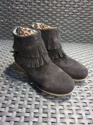 ONE PAIR OF LA REDOUTE COLLECTIONS KIDS SUEDE ZIP-UP ANKLE BOOTS IN BLACK - SIZE 13 CHILDRENS.